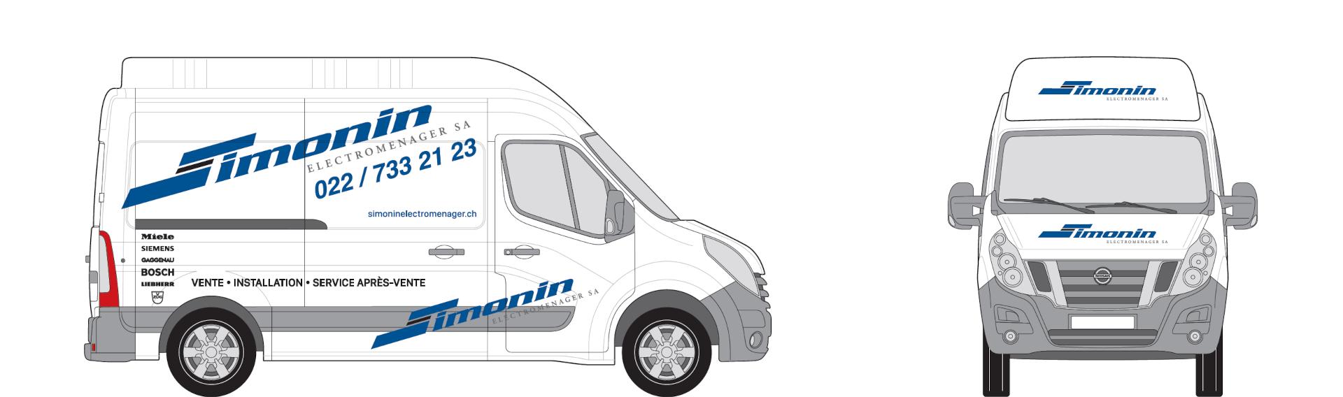 camion simonin électroménager profil et face